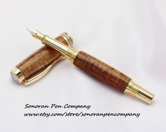Triton Curly Koa Fiddle Back curl Fountain pen
