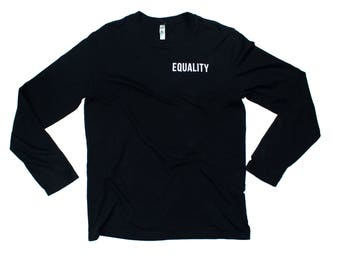 Long sleeve fitted crew - black - minimal equality