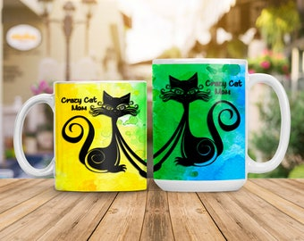 Watercolor Cat Mom Mug, Colorful Crazy Cat Lady Cup, Animal Lover Gift, Kitten Cat Lover Gift, Water Color Cat Mug, Coffee Tea Lover Gift