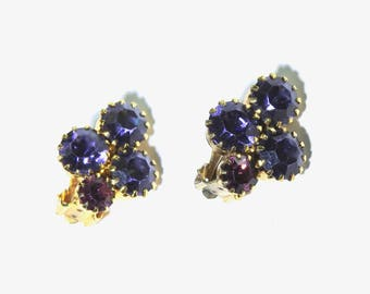 1960s Purple Rhinestone Earrings