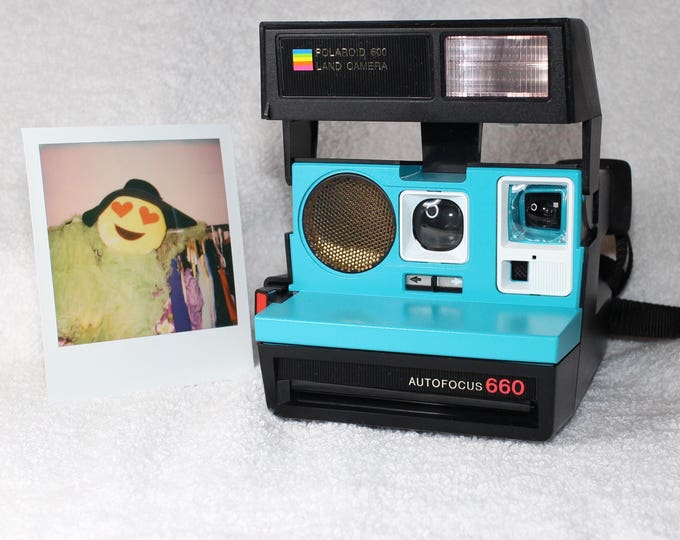 Polaroid 660 AutoFucus Upcycled Turquoise and White - Cleaned, Tested and Ready for Fun