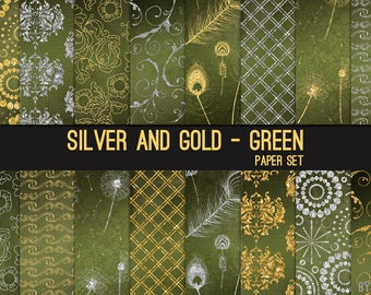 Silver and Gold on Green Digital Paper Silver Glitter 12x12 Textures, Glitter, Foil, Metallic, Backgrounds, Instant Download