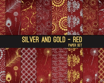 Silver and Gold on Red Digital Paper Silver Glitter 12x12 Textures, Glitter, Foil, Metallic, Backgrounds, Instant Download