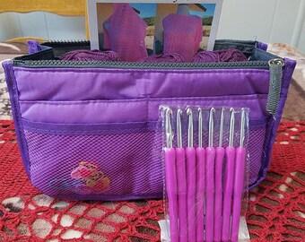 Crochet organizer bag, Knitting organizer bag, compartment bag organize