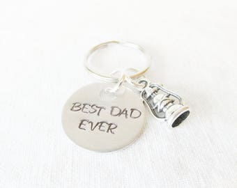 Father's Day Gift, Father's Day Keychain, Hand Stamped Keychain, Best Dad Ever, Gift From Son or Daughter, Gifts For Dads, Gifts For Him