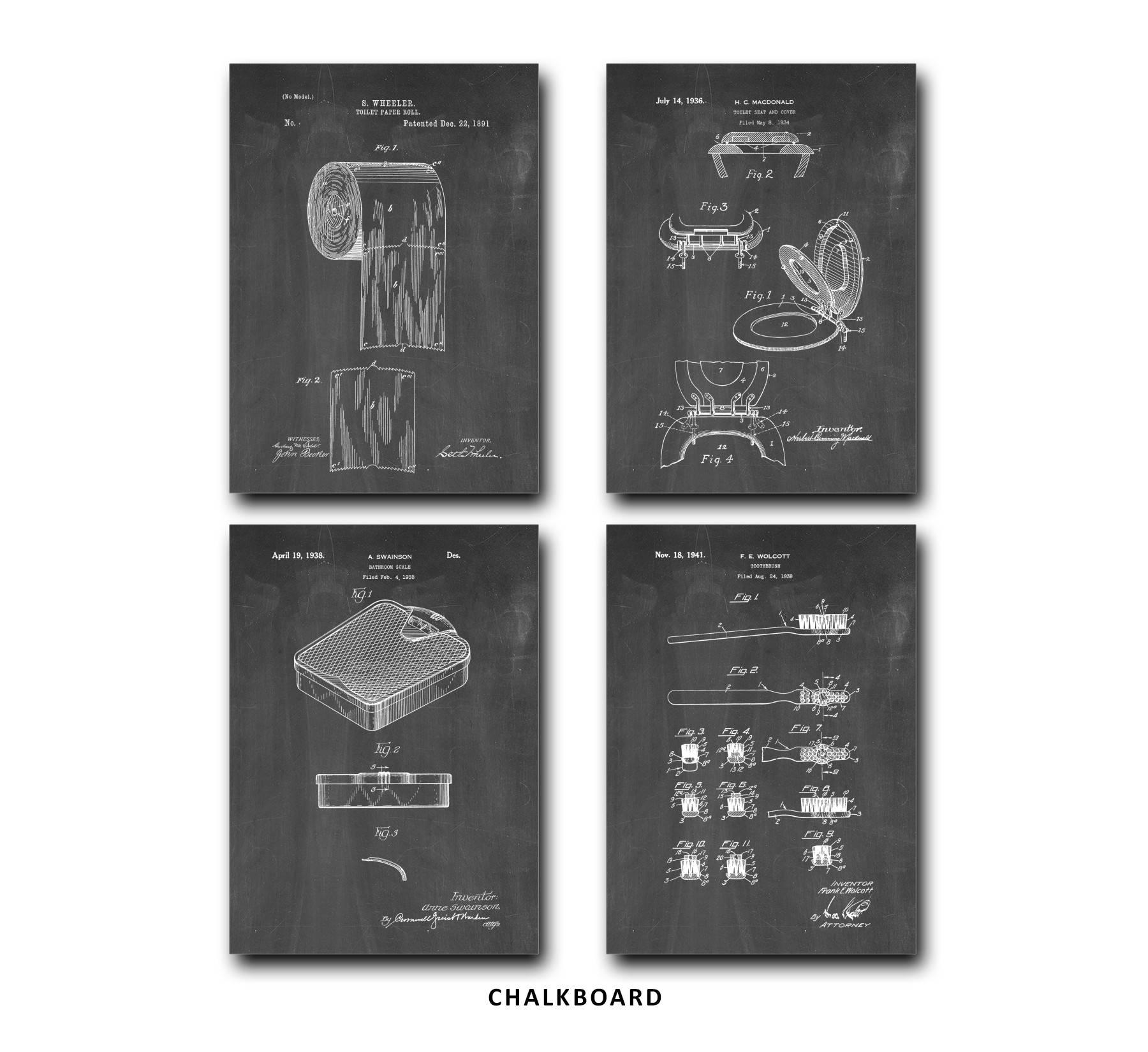 Bathroom Patent Print Set Of 4 Toilet Paper Tooth Brush