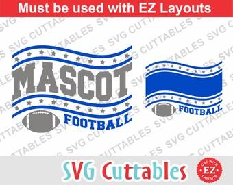 Football svg, Football cut file, EZ Design Football 0019, dxf, eps, football team, Silhouette, Cricut cut file, Digital download