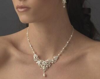 Bridal Accessories, Pearl Bridal Jewelry, Pearl and Rhinestone Jewelry Set, Elegant Bridal Jewelry Set,Bride, Bridesmaids Jewelry