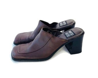 Brown Leather Chunky Heel Mules Clogs Stacked Heel Size 8.5