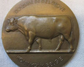 Cow cattle exposition medal Belgium bronze pendant  medaillon