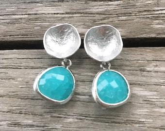 Aqua Blue Crystal Dangle Earrings | Crystal Drop Earrings | Drop Earrings | Blue Crystal Earrings | Crystal Bezel Earrings | Dangle Earrings