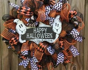 Happy Halloween Wreath, Halloween Ghosts Mesh Wreath