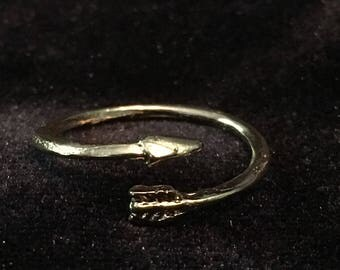 Adjustable Gold Arrow Ring