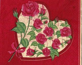 """6 Decoupage  Paper Napkins Serviette Roses Heart 33x33 cm. 13""""x13"""" 6 pcs"""