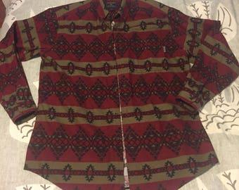 Mens Signature WOOLRICH Southwestern Button Down Shirt size Large 100% Cotton Flannel