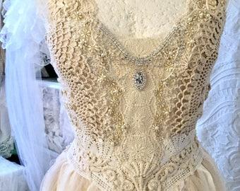 Wedding Dress Open Backbridal Gown RosesrawragsVintage Inspired