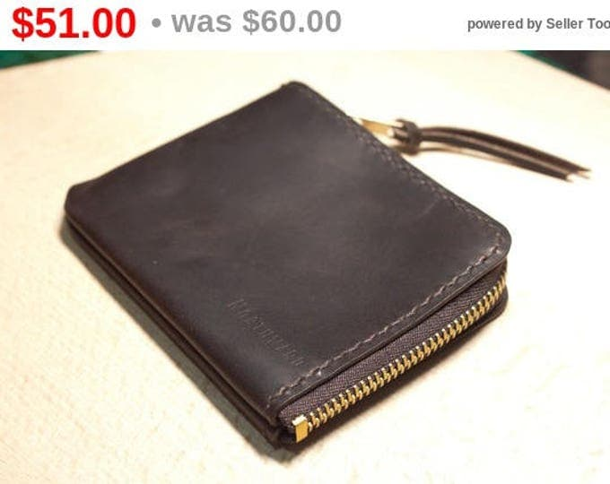 Italian Pull-Up Leather Mini Zip Wallet/Small leather wallet /Zip wallet/Leather Card holder/Men's Leather Wallet