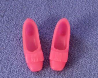 Mod Barbie Pink Soft Bow Low Heel Shoes, Near Mint (Also fit Poppy Parker)