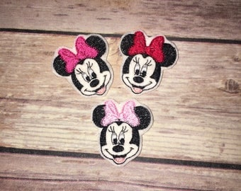 Set of 4 Minnie Mouse Felties Feltie Felt Embellishment Bow! Birthday Party Oversized Oversize Planner Clip Girl Mouse