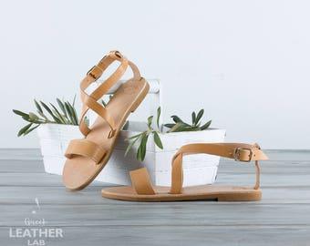 Greek leather sandals, flat sandals, leather sandals, Greek sandals, summer shoes, leather flats NAXOS