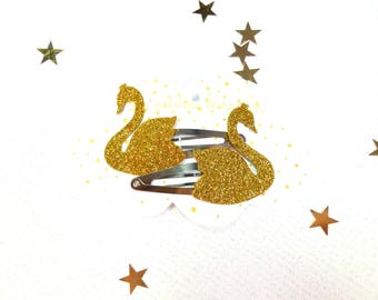 The Swans glitters gold pins