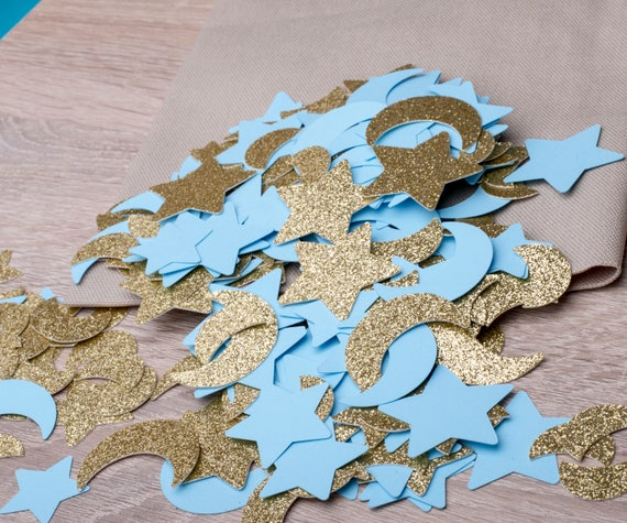 80 CT Twinkle Twinkle Baby Shower Boy Confetti. Boy Birthday Twinkle Twinkle Little Star Party Decorations. Gold Moon Stars Party Confetti.