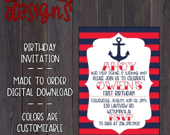 Ahoy Birthday Invitation