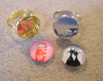 SET of 2 brackets rings children 11 + 2 original cabochons