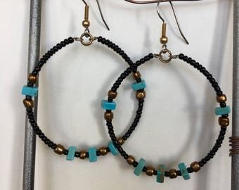 Gypsy Hoops with Old Gold and Turquoise (Magnesite)