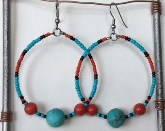 Gypsy Hoops in Turquoise Magnesite and Red Coral