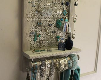 ON SALE You Get To Pick The Stain, Mosaic Mesh, RopeTrim Series Wall Mounted Jewelry Organizer with Bracelet Bar, Necklace Holder