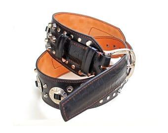 Studded Black Leather Belt | Rock'n'Roll Belt | Leather Belt for Men | Genuine Leather Belt |  Leather Belt with Rivets | Gift for Men