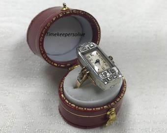 Elegant Antique 1930s Vintage 10K White Gold 8 Diamond Ladie's Swiss Adams Watch Ring Size 7.5