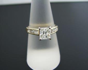 a1012 Gorgeous Princess Cut 1.01 ct Diamond Engagement Ring 18k Yellow Gold 7.5