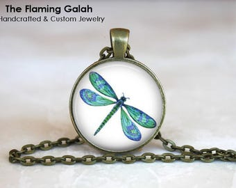 DRAGONFLY Pendant • Turquoise Dragonfly • Mystical Dragonfly • Green Dragonfly • Dragonfly Art • Gift Under 20 • Made in Australia (P1446)