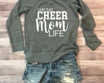 Cheer Mom Life Wideneck Fleece