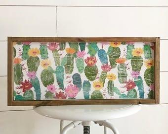 Cactus sign - wood sign