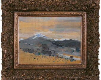 Snow-capped mountains Landscape. Original painting by Juanma Pérez. Oil on solid pine. 10  x 14in.