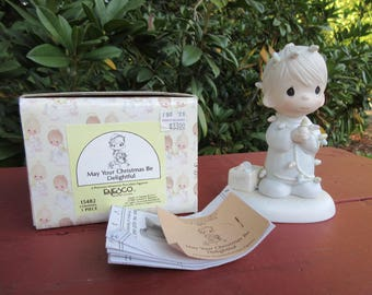 """2 Precious Moments """"May Your Christmas Be Delightful"""" Figurine + Matching Cup in Boxes both 1985"""