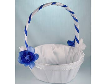 Flower Girl Basket - Blue with White Roses