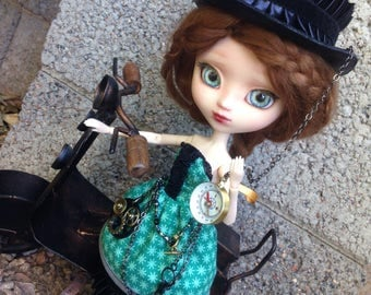 Fashion Doll Clothes/1:6 Scale/Handmade Doll Outfit/Custom OOAK Pullip Dal Byul Yeolume Dress/Adult Collector/Steampunk Corset Hat Petticoat