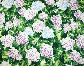 """SALE, Free shipping- Green cotton fabric with hydrangea for 5m - (SYL)-55""""(145cm)wide"""