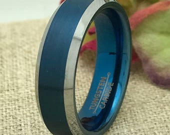 6mm Tungsten Wedding Ring, Personalized Engrave Blue IP Tungsten Wedding Ring, Father's Day Gift, DOJTCR175