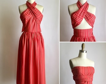 80s silk dress XS ~ vintage convertible wrap dress