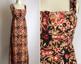 1960s batik maxi dress XS ~ vintage cotton summer dress