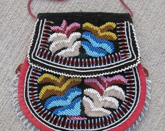 Antique Native American Iroquois beaded bag purse glass seed beads 7.25x7.25in