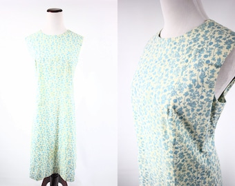 1960's Blue Floral Cotton Sleeveless Shift Dress