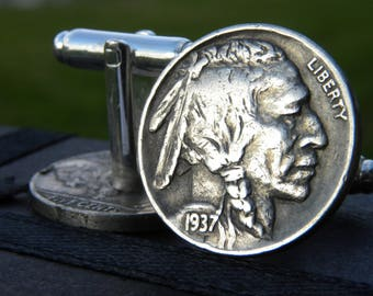 Vintage authentic Buffalo Indian Nickel coin handmade Men  cuff links nice gift for Buffalo Bills Bulls fans FSU Seminole