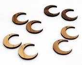 2 Crescent Moon Beads: in Maple, Cherry, Walnut or Bamboo