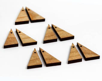 6 Right Triangle Blank Beads : Cherry Plywood